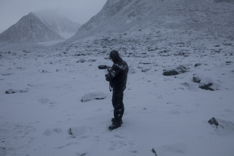 Filmmaker Saeed Taji Farouky on location in Svalbard, Norway