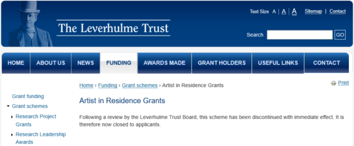 Leverhulme Trust terminates Artist in Residence Grants – The