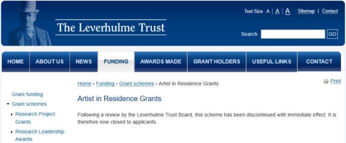 Leverhulme Trust terminates Artist in Residence Grants – The