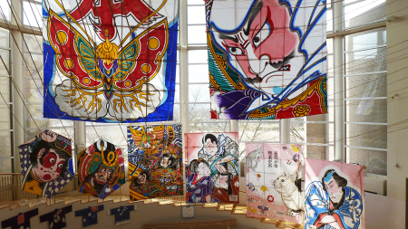 Fighting Kite Museum,  children's kites below the large ones.  Photo and permission Su Grierson