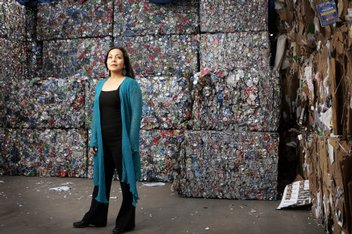 K.C. ALFRED / UNION-TRIBUNE  Seema Sueko (shown at Miramar Recycling Center) and her theater company Mo'olelo Performing Arts Company have been at the forefront of developing strategies to reduce waste and other environmental impacts from the construction and disposal of used theater scenery
