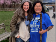 Polly Higgins and indigenous activist Raven Courtney 2012 working to spread news about ecocide in Canada and North America