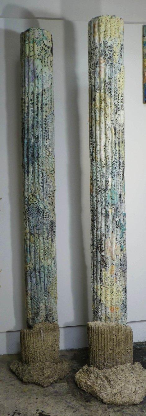 "Creature Columns: 8' x 18"", cast paper over sono tube, cast concrete base, lace, wax, oil."