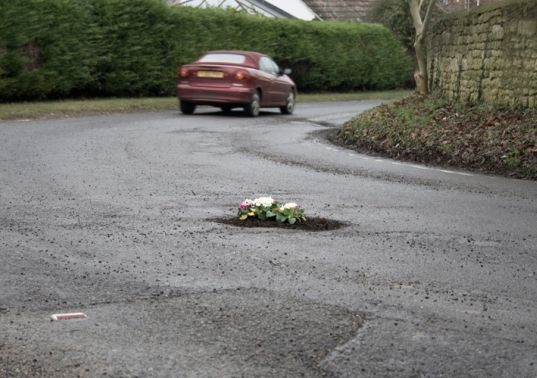 road repair, road repair alternatives, road gardens, street gardens, pothole gardens, Pete Dungey, UK gardens, English gardens, pothole fillers